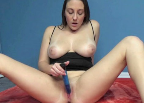 Melanie Hicks does her big blue toy