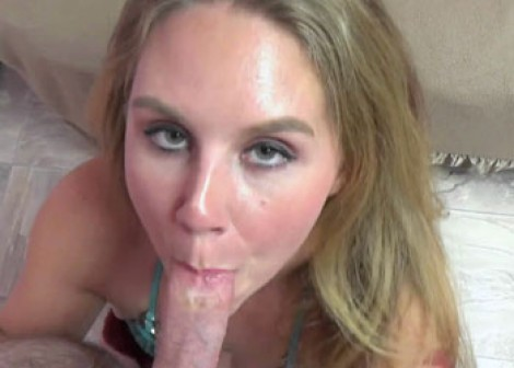 Curvy blonde Dani gives Logan a blowjob