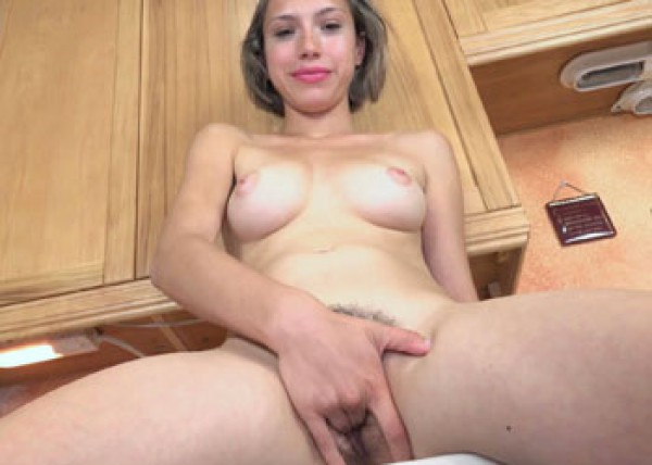 Latina Amber maturbates in the kitchen